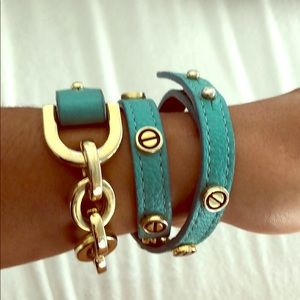 Leather and gold wrap bracelets